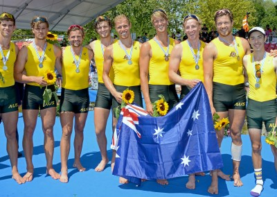 Australian Mens Eight plus cox with medals