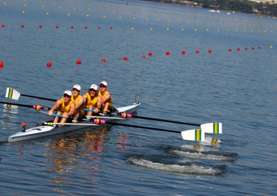 The Junior Men's Four take off