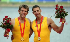 David Crawshay (left) and Scott Brennan celebrate winning gold in the Men's Double Scull at the 2008 Beijing Olympic Games
